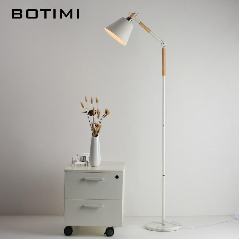 BOTIMI European-style Floor Lamp Nordic Wood Standing Light For Living Room Bedroom Hotel luminaria de mesa E27 Lamparas