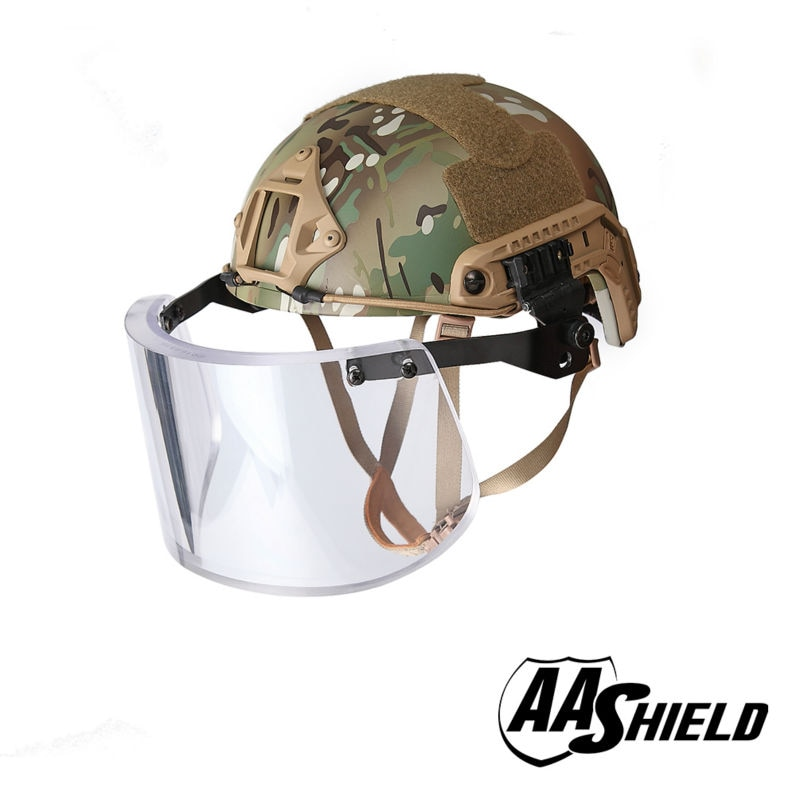 Aa escudo balístico ach alta corte tático capacete de segurança à prova de balas máscara de vidro armadura corpo aramida núcleo nij iiia 3a kit mc