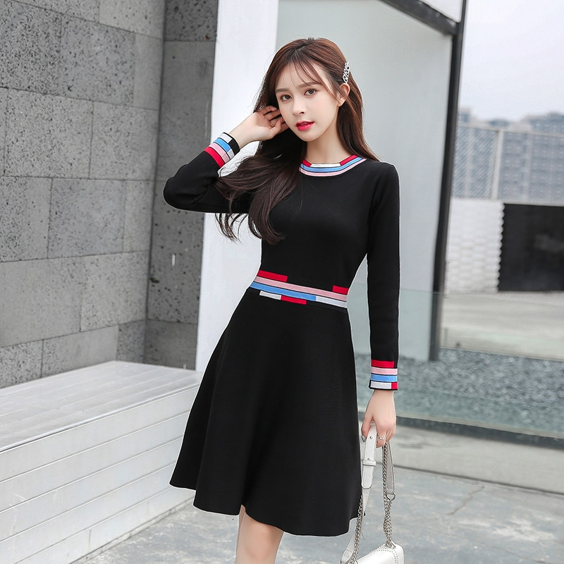 2020 New Winter Kintting Sweater Dress Women Sweet Elegant O-Neck Long Sleeves Dress Vintage High Waist A-line Hit Color Dress