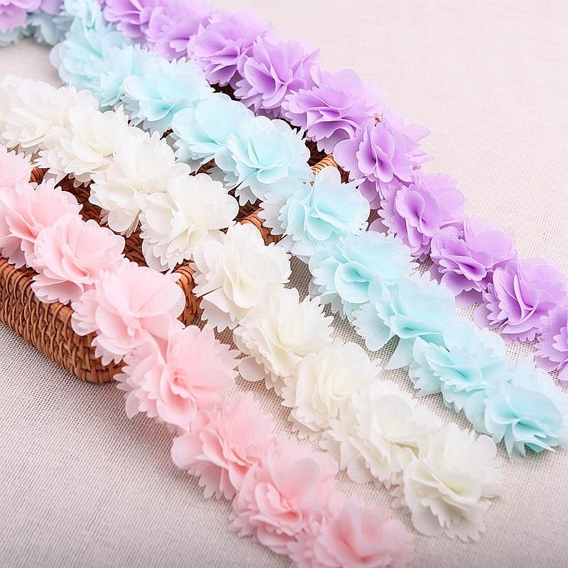 Laço de tecido 26 pçs/lote 7 cores, poliéster, flor, roupas, chapéu, roupas, acessórios de renda, tecido 1905011