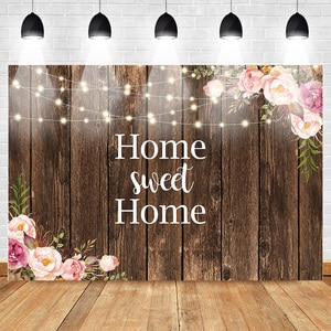 MOCSICKAWooden Floor Photo Background Floral Sweet Home Warm Lantern Photography Backdrops Warm Wedding Photography Background