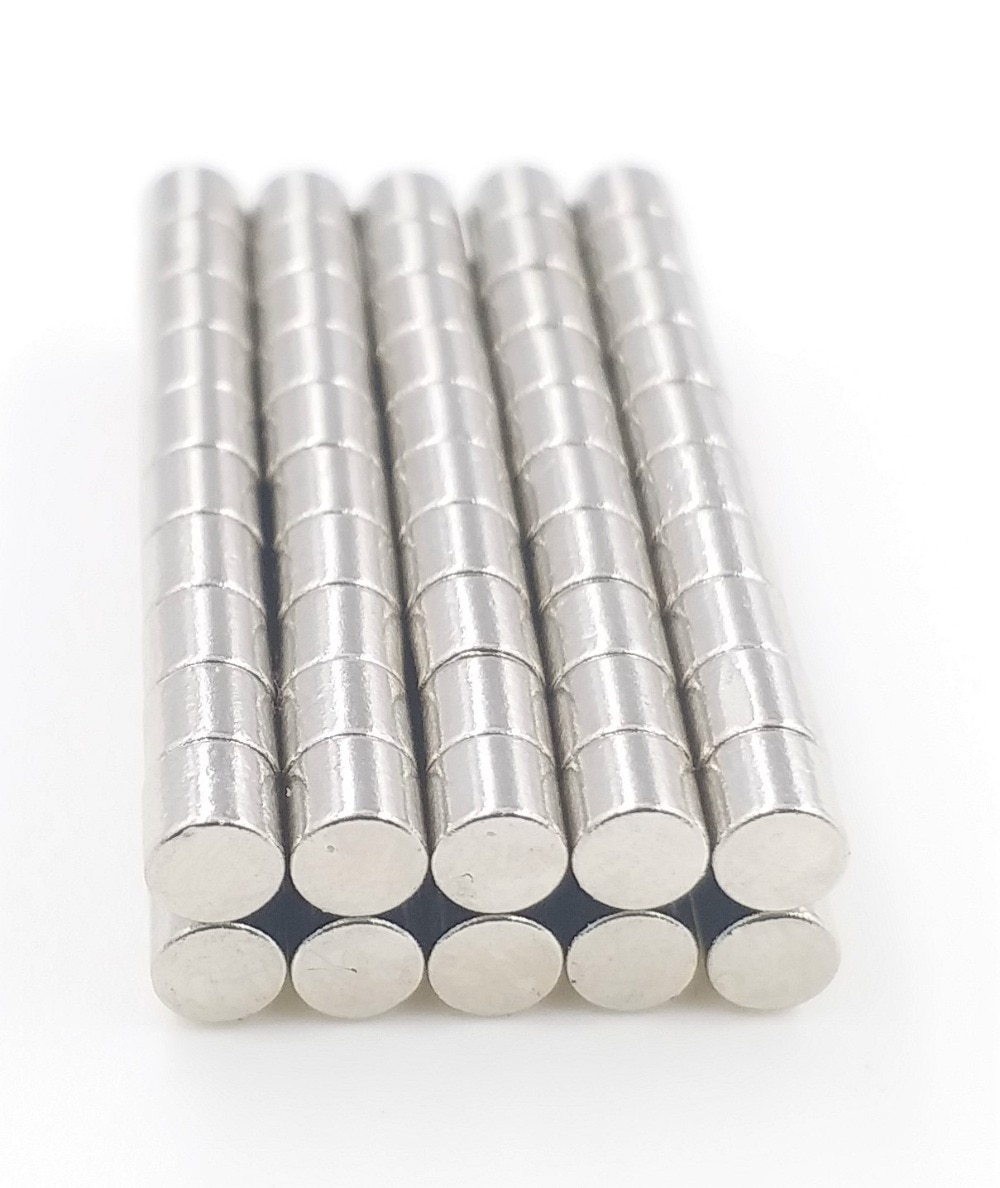50 Uds imán de neodimio 3x3mm tierra rara pequeña redonda fuerte permanente 3*3mm electroimán de frigorífico disco magnético NdFeB níquel