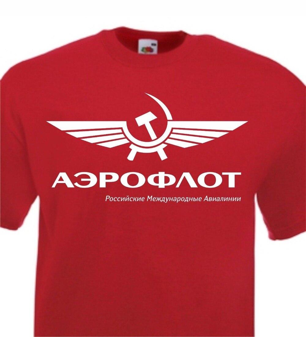 Aeroflot Airline camiseta Rusia URSS Retro soviética Cccp Udssr2019New camiseta de marca hombres de manga corta Casual Homme camiseta
