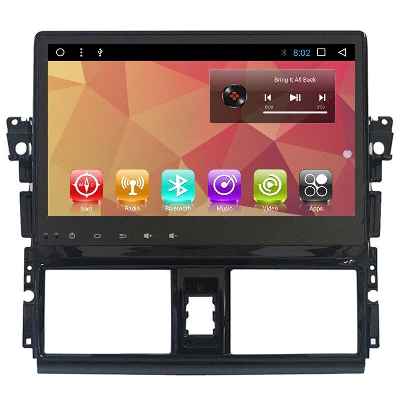"""10.1 """"Android Stereo Car Multimedia Navegação GPS Unidade de Cabeça DVD Radio Audio Sat Nav para Toyota Vios Yaris 2013 2014 2015"""