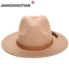 2017 new Wool Solid Fedoras Hats Women and Men Wide Large Flat Brim Crocodile skin tassel Decoration Vintage Cashmere Jazz Caps