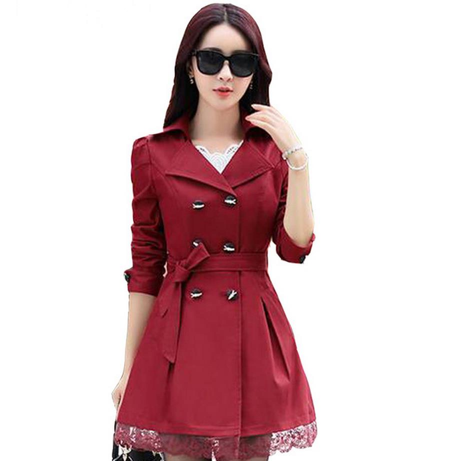 Gabardina ceñida femenina a la moda para Primavera/Abrigo largo con doble botonadura de color liso con encaje estilo regazo para mujer/talla S-XXXL