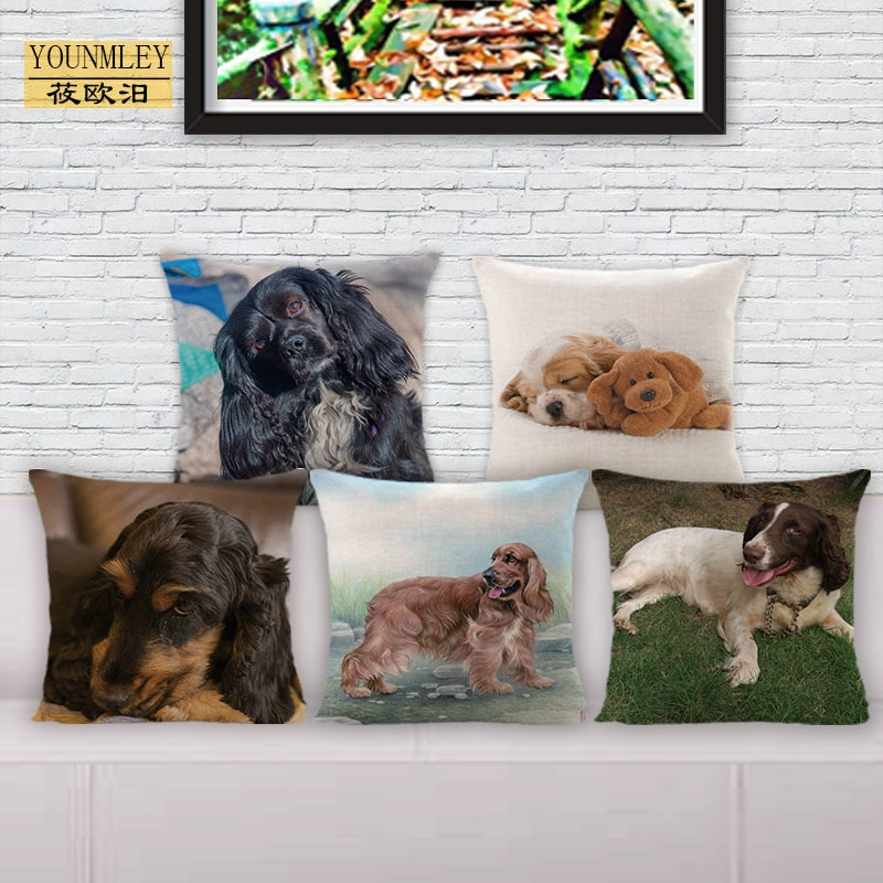 Funda de cojín con estampado de perros inglés cocker spaniel de 18 pulgadas, almohadas decorativas para el hogar para sofá, ropa de cama, funda de almohada de 45x45 cm, Lino de algodón