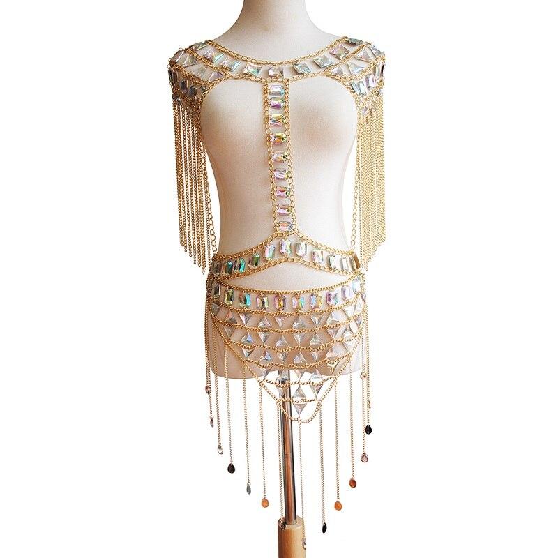 Collar de cadena de hombro acrílico con lentejuelas estilo borlas clásico para mujeres, promoción de moda Sexy cadena corporal para el vientre en la playa, conjunto de joyería