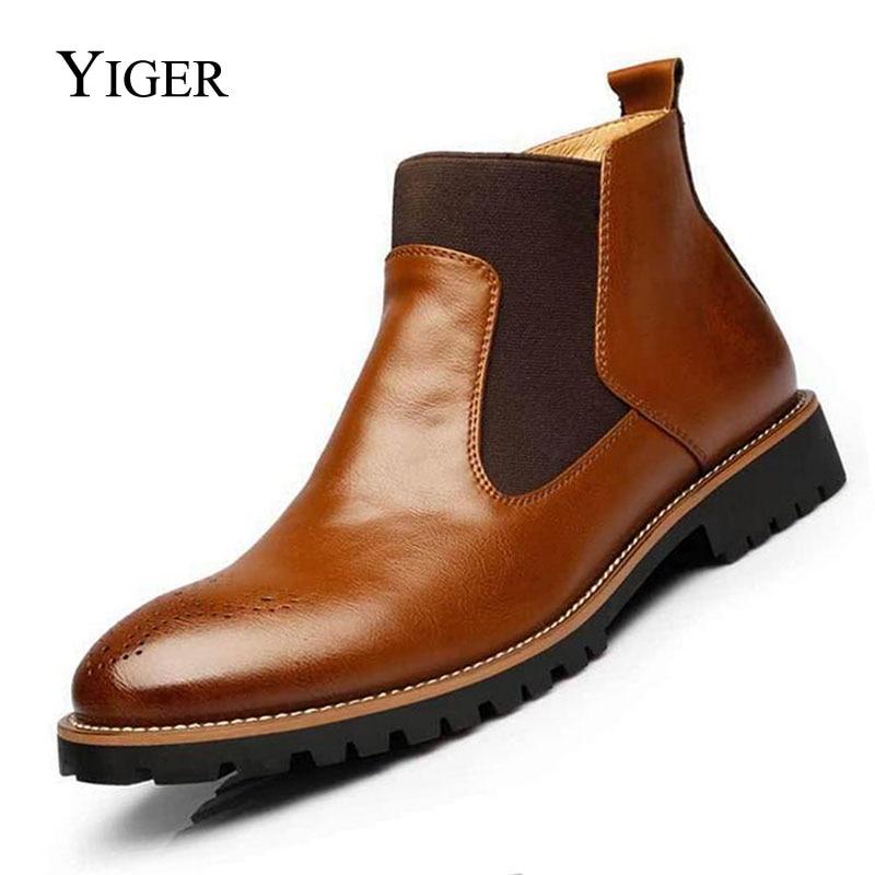 YIGER, nuevas botas Chelsea para hombre, botines de talla grande, negro/marrón/rojo vino, botas de hombre de estilo británico, cuero suave, envío gratis 0001