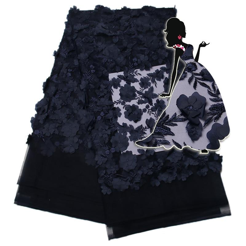 Tela de encaje africano con flor 3D 2019 azul real última tela de encaje de tul de alta calidad 3D tela de encaje para novia KS1342B