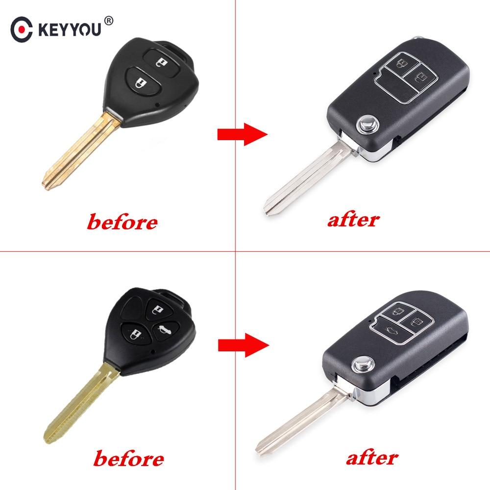 KEYYOU Modified 2/3 Buttons Remote Car Key Shell Folding Flip Key Case Cover For Toyota Camry Corolla Reiz RAV4 Auto Key