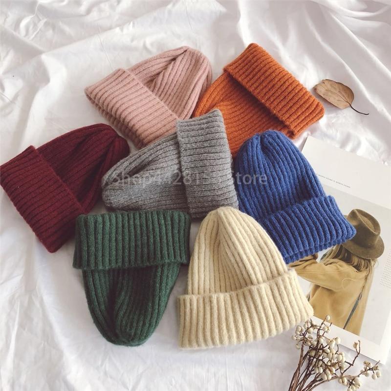 Casquette tricotée pour bébés garçons   Bonnet couleur bonbon, chapeaux chauds pour bébés filles, vente en gros