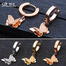 SMJEL Stainless Steel Double Butterfly Earrings for Women Tiny Butterfly Wedding Earrings Jewelry Ac