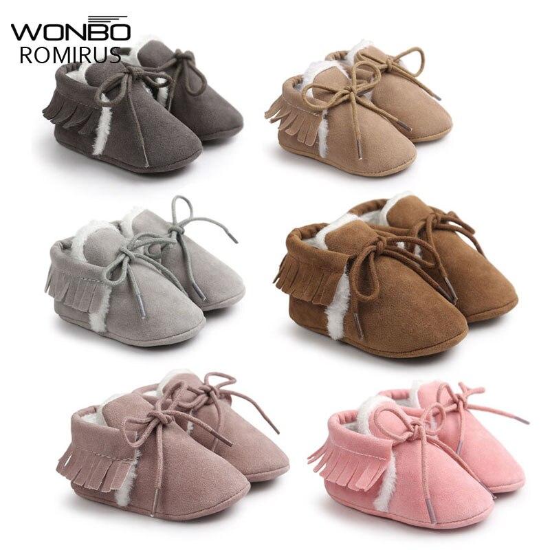 Mocasines para bebés y niños pequeños de piel de ante Pu de nueva marca, zapatos de invierno para mantenerse caliente con piel de nieve con cordones para bebés