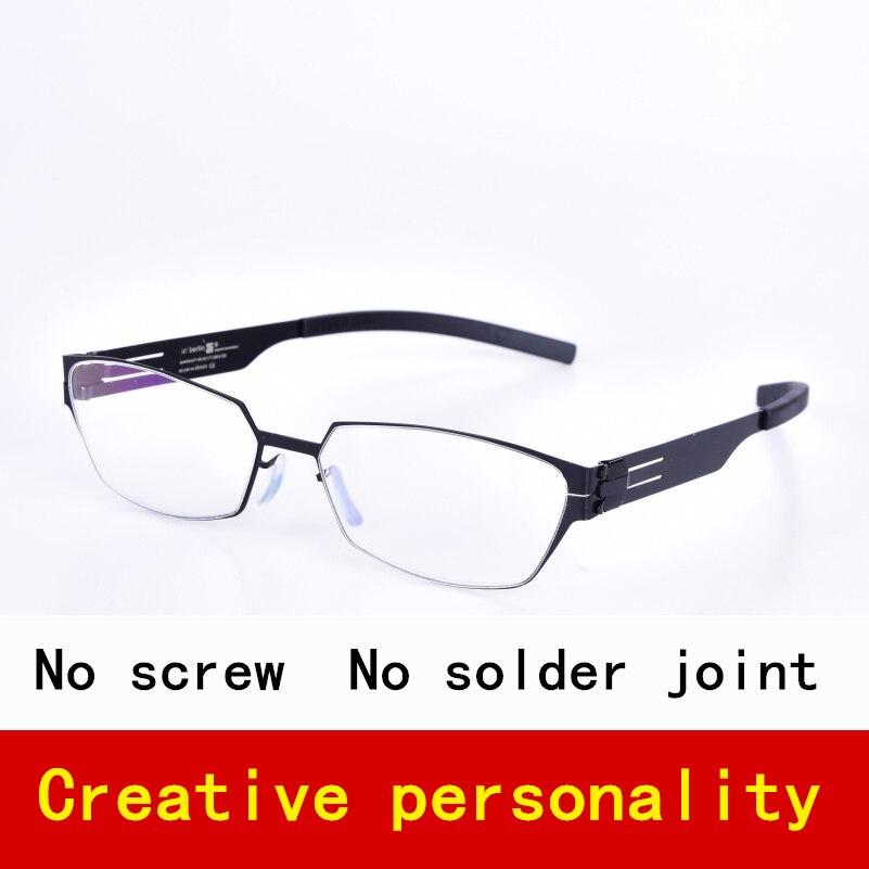 نظارات خفيفة الوزن متعددة الأضلاع بدون براغي من الفولاذ المقاوم للصدأ ، إطار نظارة طبية للنساء والرجال