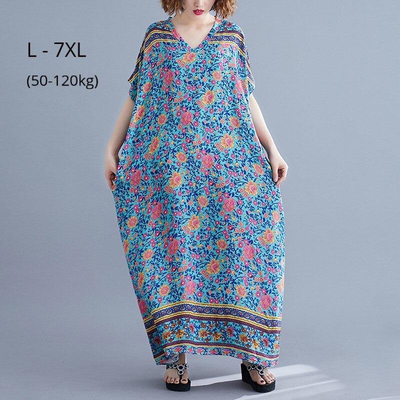 Vestido largo de verano de talla grande 7XL 6XL 5XL vestido de mujer Vestido largo de mezcla de algodón de dibujo bohemio ropa Casual señoras cuello pico Maxi vestidos de playa