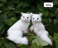 a pair of cute real life squating fox models plasticfurs simulation white fox dolls gift about 15 16cm xf1721