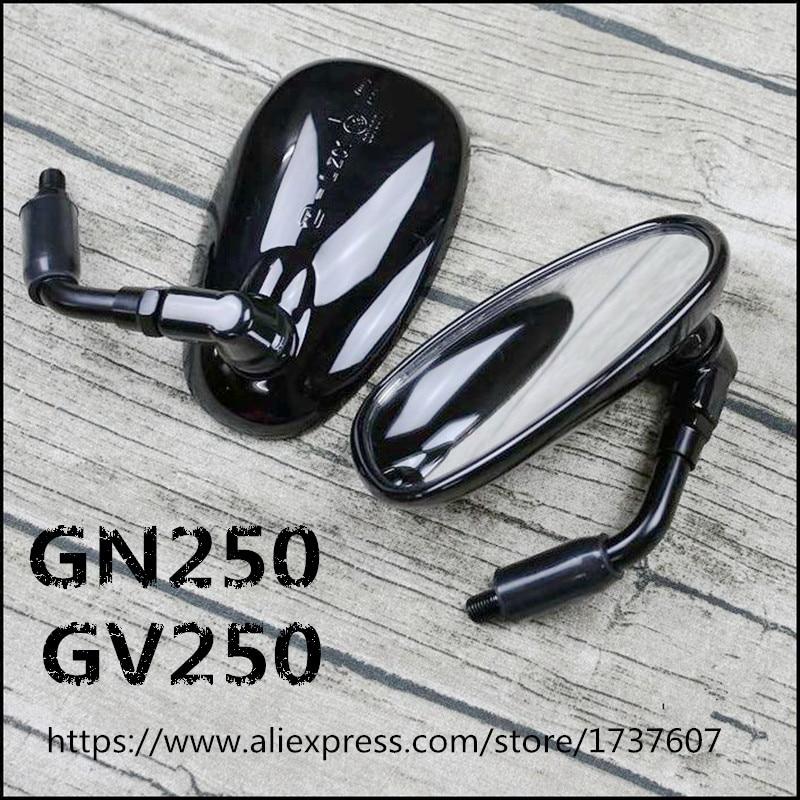 10 مللي متر البيضاوي دراجة نارية الخلفي مرايا العالمي خمر دراجة نارية الرؤية الخلفية مرآة ل GN/GV250