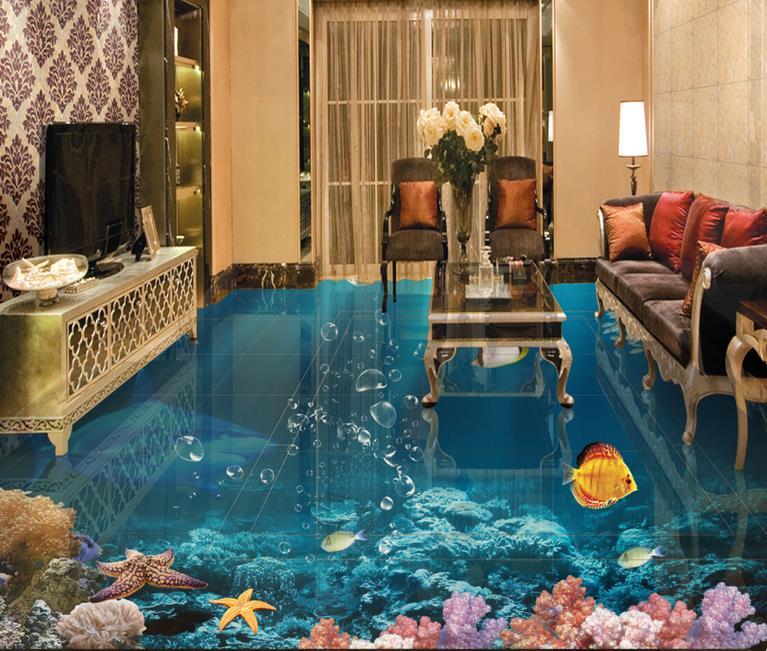 Papel tapiz 3d personalizado para suelo, papel pintado de tiburón 3d-floor-papel pintado autoadhesivo de pvc, suelo 3d para sala de estar
