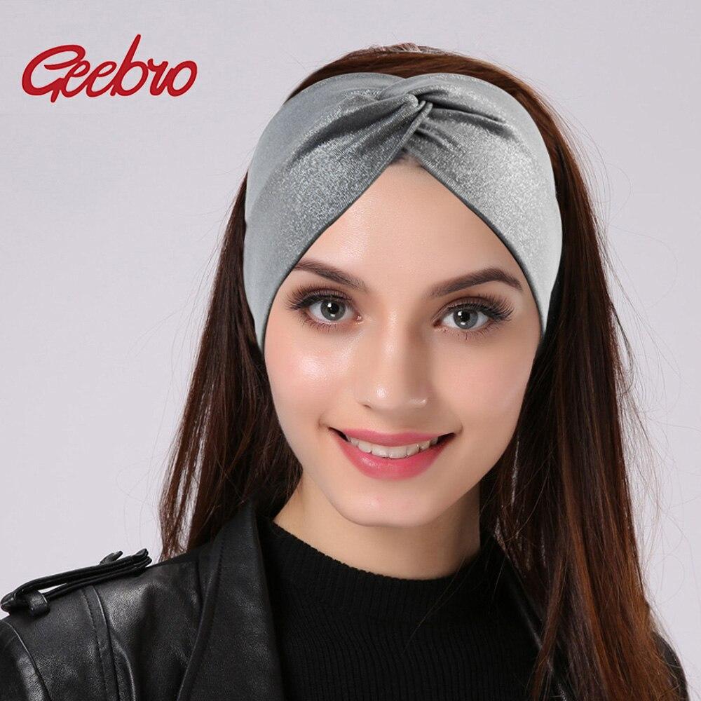 Geebro, diademas anchas de punto de plata para mujer, turbante tejido cruzado a la moda de verano, diadema para balneario para mujer, Diadema con lazo envolvente