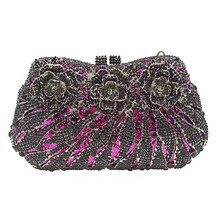 New Retro Flower purple/gold/red/blue Crystal Women Evening Clutch Bags Night Bag Evening Dress Bag Debutantes Clutches purse