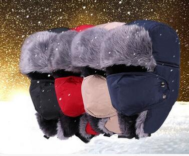 2018 Winter Bomber Hats men women  Cotton Fur Winter Ushanka Russian  Bomber Hats