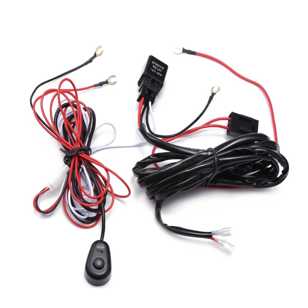 O automóvel do carro de ecahayku conduziu a lâmpada do trabalho luzes de condução 2m cablagens offroad conduziu o cabo de fio 40a 12v 24v interruptor do relé