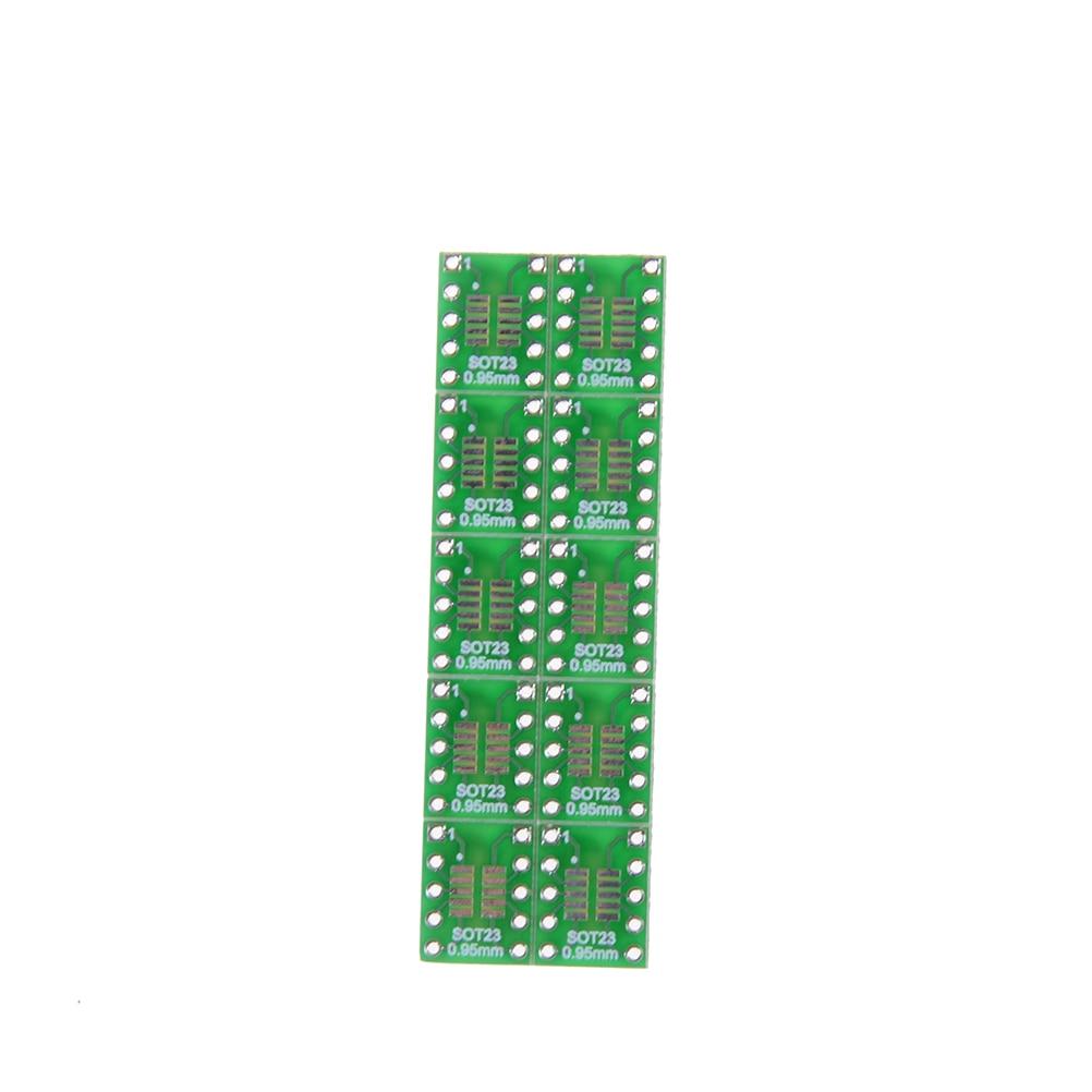 10 pçs/lote 0.5/0.95mm a 2.54mm dip pino placa pcb converter sot23 sot23 sop10 msop10 umax sop23 para dip10 pinboard smd para dip adaptador