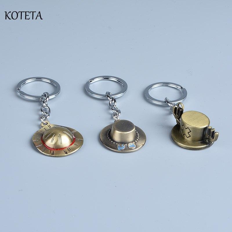 Аниме Koteta, цельная соломенная шляпа Луффи и Ace & Chopper, шляпа, брелок, экшн-фигурка, игрушки, кольцо для ключей, подвески с цепочками, Brinquedos