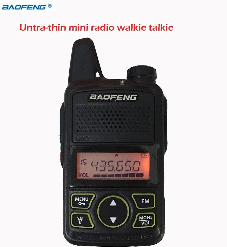 Nuevo Walkie Talkie BAOFENG BF-T1 práctico con UHF 400-470 mhz Cargador Micro USB interfono portátil Radio Fm Cb transceptor