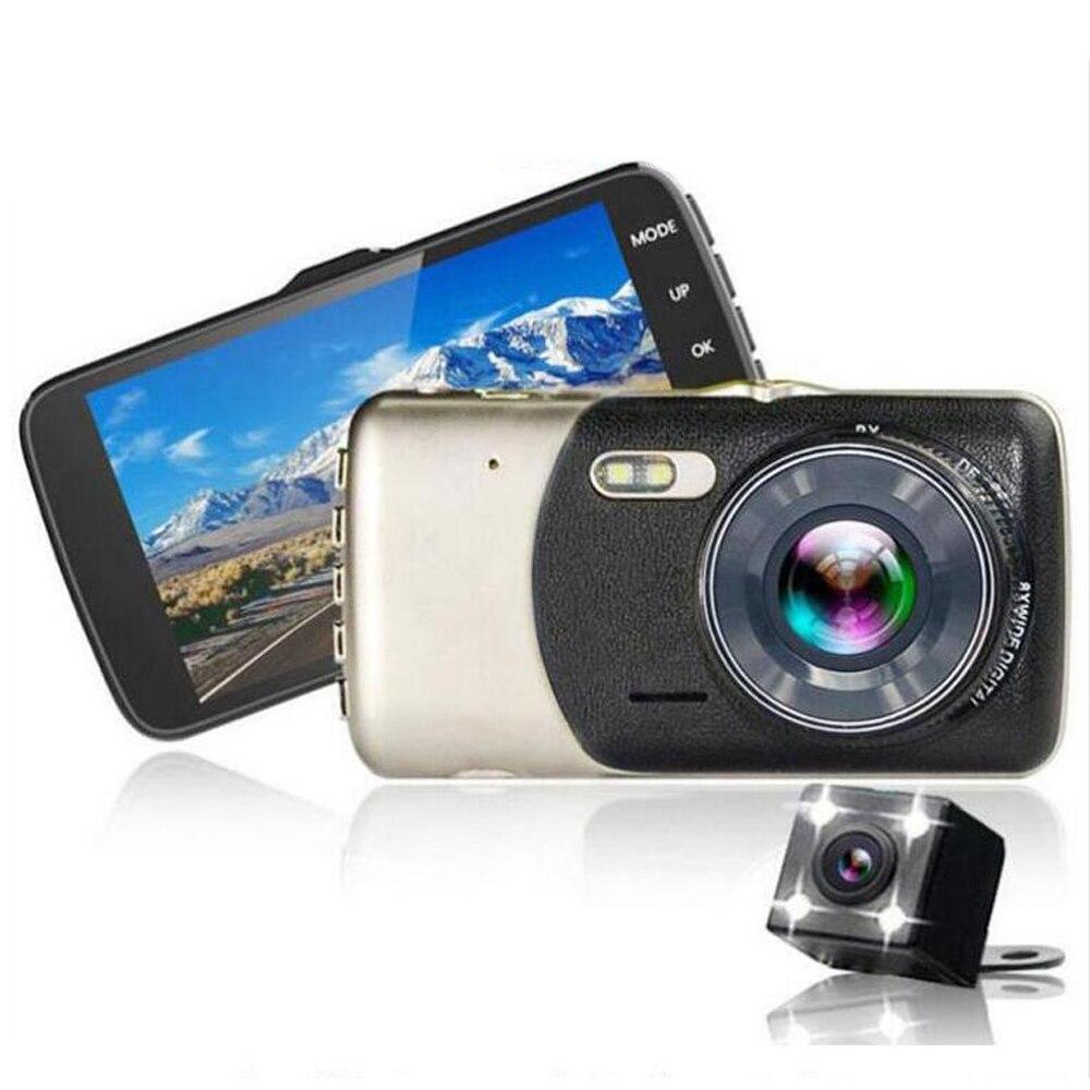 Excelente 4 polegada chip de Novatek Câmera Do Carro Recorder DVR Full HD 1080 p Dual lens 170 Graus Lente 6g ceia Night Vision Cam Traço