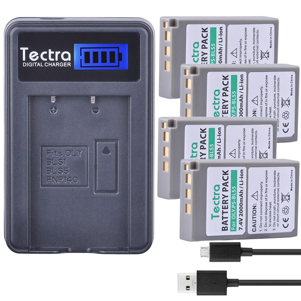 Tectra 4 шт. PS-BLS5 BLS-50 PS BLS5 BLS50 литий-ионный аккумулятор + ЖК-Зарядное устройство USB для Olympus PEN E-PL2 E-PL5 E-PL6 E-PL7 E-PM2 OM-D E-M10