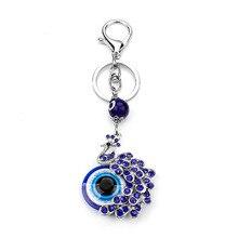 Moda Mavi Kristal Tavuskuşu Anahtarlık Anahtarlık Biblo Hediye Çanta Çanta Nazar takı
