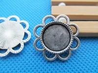 100pcs antique silver toneantique bronze flower base setting pendant charmfindingfit 14mm round cabochonpicturecameo