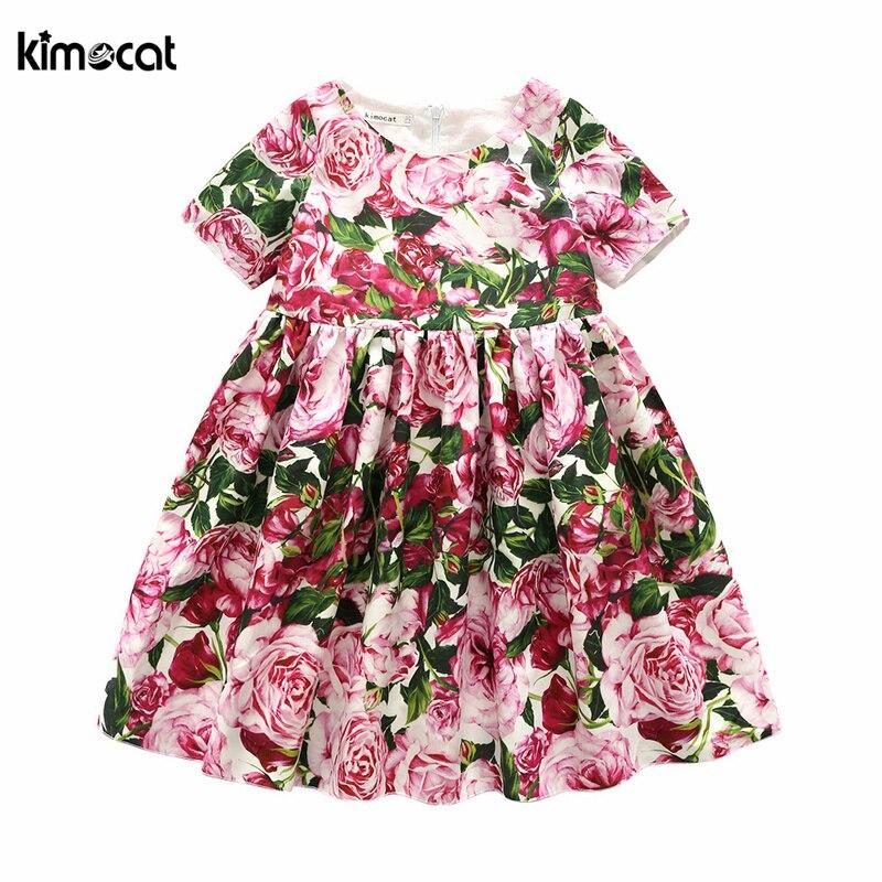 Kimocat-فستان بناتي ، زي زهري ، قطن ، أميرة ، طباعة زهور ، أكمام قصيرة ، ملابس أطفال ، مجموعة جديدة