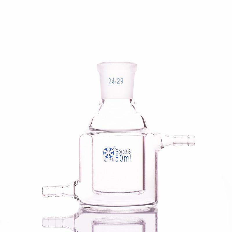 Double-deck cylindrical single-necked flat bottom flask,Capacity 50ml,Joint 24/29,Mezzanine jacketed reactor bottle