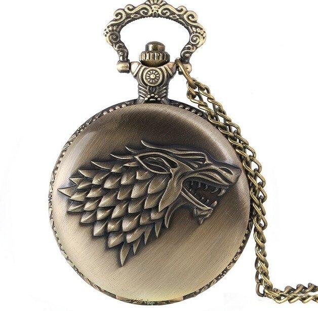 Reloj de bolsillo de cuarzo con forma de Lobo con motivo de cadena larga con tema de Juego de tronos
