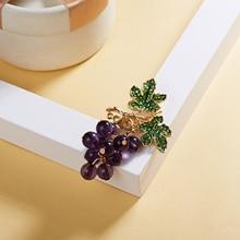 Rinhoo Summer Crystal Grape Brooches for Women Cute Luxury Brooch Pin Fashion Jewelry Elegant Wedding Brooch Bouquet Hot