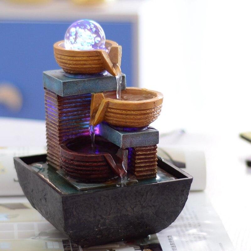 Piccola fontana waterscape acqua ornamento scrivania creativo decorazione dellinterno decorazione Feng Shui rotonda personalità