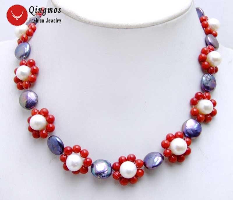 Женское колье-чокер Qingmos 13-14 мм, Черное круглое ожерелье с красными кораллами, цветочное Плетение ручной работы, ожерелье 6224