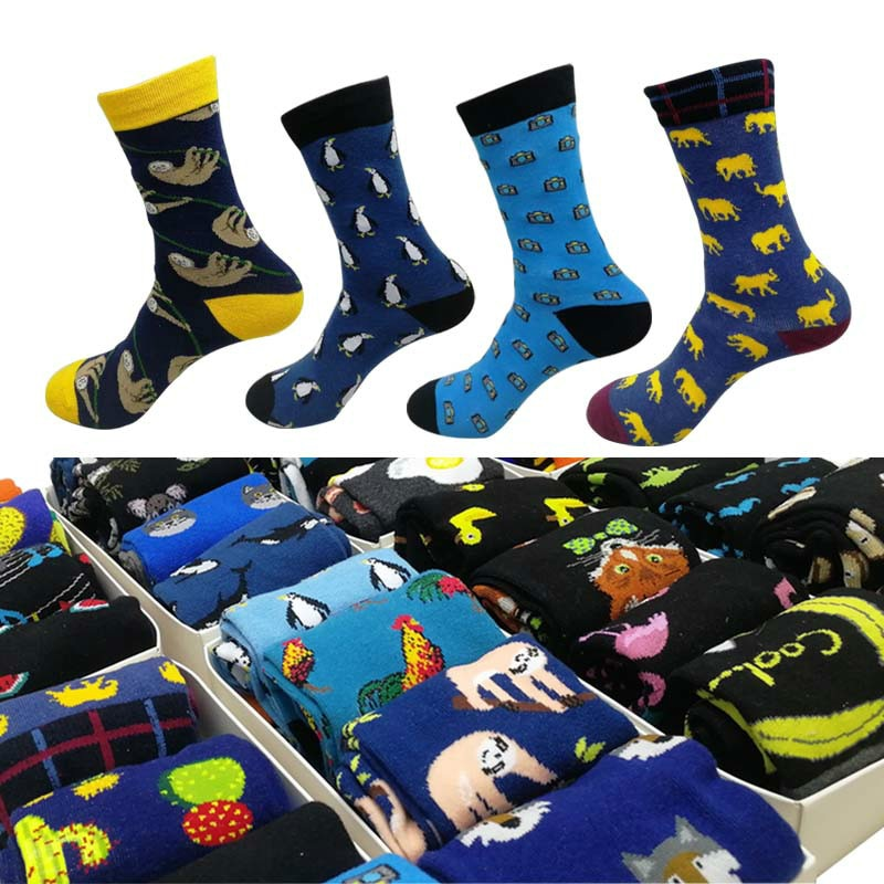 ARMKIN 4 pares/lote animal Casual homens meias harajuku hipster meias masculinas meias de algodão calcetines skate Graffiti engraçado feliz