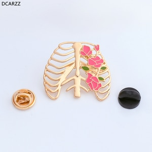 Chest with Flowers pins Anatomical Gothic Brooches Skeleton Heart Goth Punk brooch doctor nurse gift Medical Jewelry Wholesale