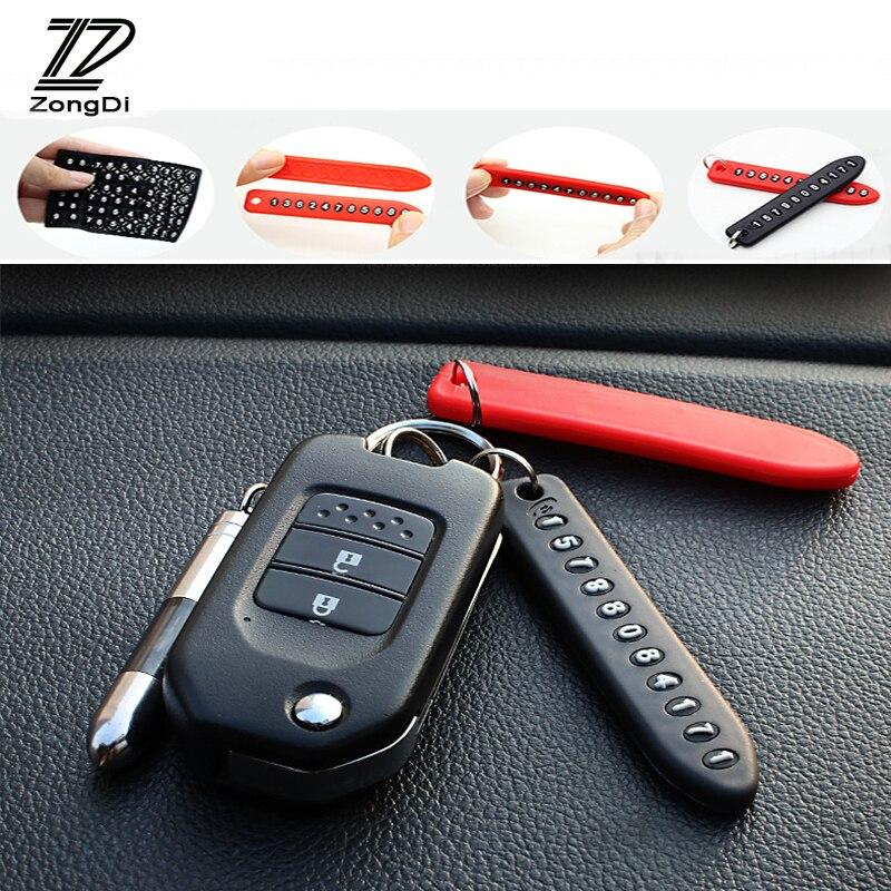 ZD 1X Car Keychain Anti-lost Parking Card Phone Number plate For Hyundai Tucson 2017 Solaris ix35 i30 Suzuki Swift Mitsubish ASX
