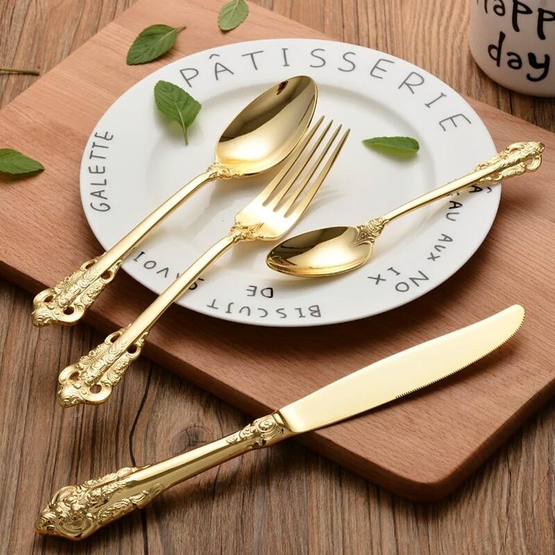 Позолоченные Ретро Винтажные столовые приборы столовые ножи вилки чайная ложка Набор Золотая Роскошная Посуда Набор посуды 4 шт
