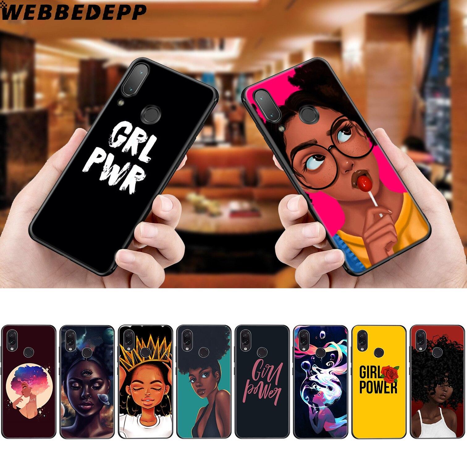 WEBBEDEPP Black Afro Girl Soft Case for Xiaomi Redmi K20 7A 4A 4X 5 5A 6 6A S2 Note 8 4 4X 5 6 5A 7 Pro Plus Prime