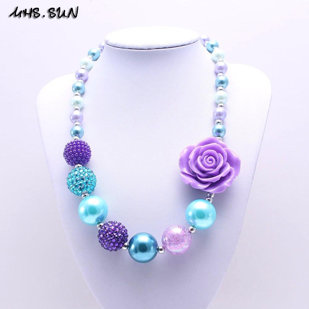MHS. SUN bonito diseño púrpura flor chico grueso collar Bubblegum Bead Baby Girl collar grueso joyas para niños pequeños