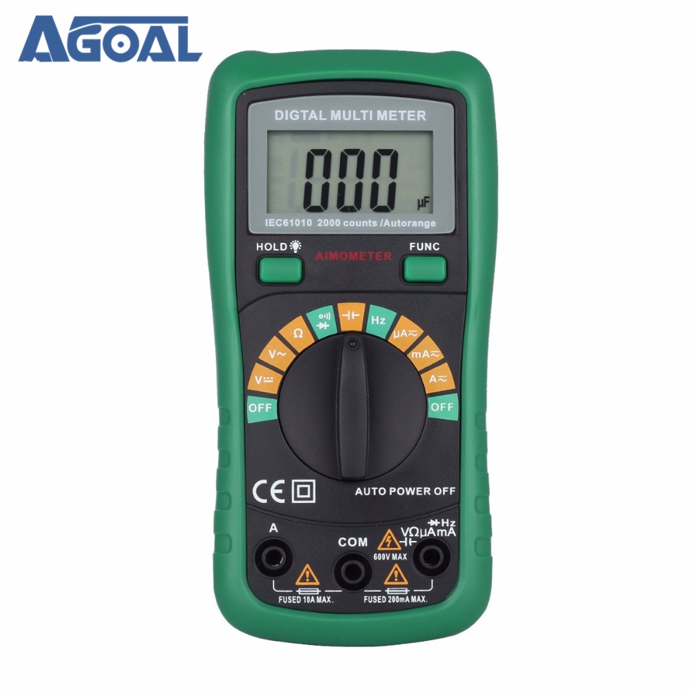 Multímetro Digital de rango automático de 2000 recuentos, resistencia de capacitancia de...