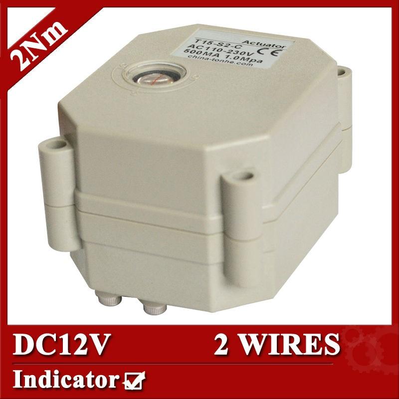 Actuador de válvula de motor DC12V, 2 cables (CR201) actuador de control automático para válvula, 2Nm, tipo de indicador