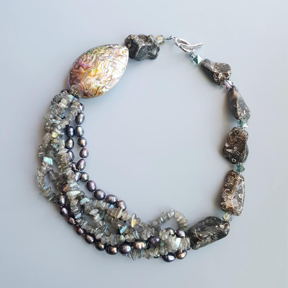 LiiJi labradorita Natural perla de agua dulce concha de abulón Turritella ágata único Gran Collar de palanca de cierre collar 52cm