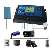 Pwm 10/20/30a dupla usb painel solar bateria regulador de carga controlador 12/24 v lcd